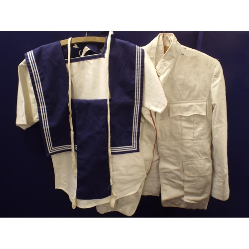 367 - Two vintage naval part uniforms & suitcase...