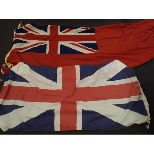 370 - Two large vintage union jacks & red ensign...