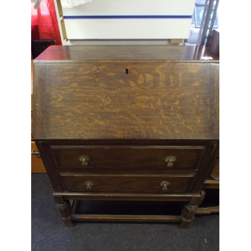 376 - Vintage oak Bureau with two drawers under...