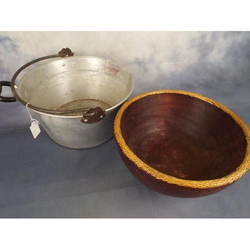383 - Large aluminium Jampot & wooden bowl...