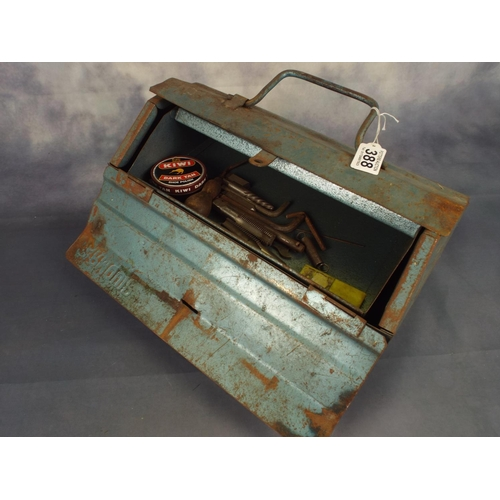 388 - Cantilever metal tool box with an assortment of tools...