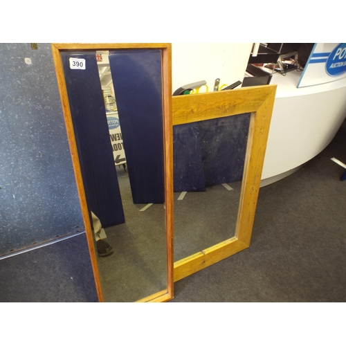 390 - Two large wooden framed mirrors...