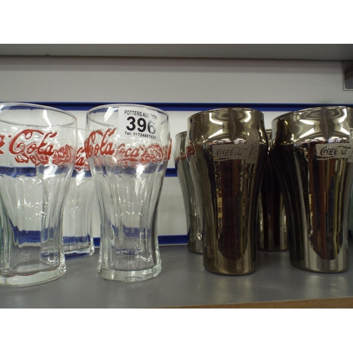 396 - Eight coca cola glasses...
