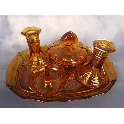 403 - Amberglass dressing table set...