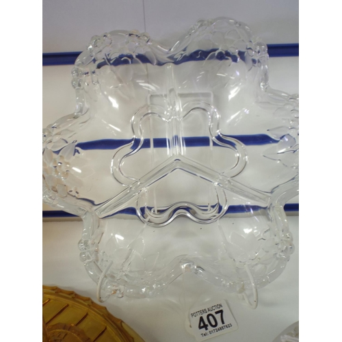 407 - Glass three compartment bonbon dish...
