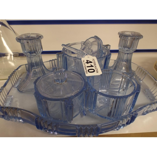 410 - Blue glass dressing table set...