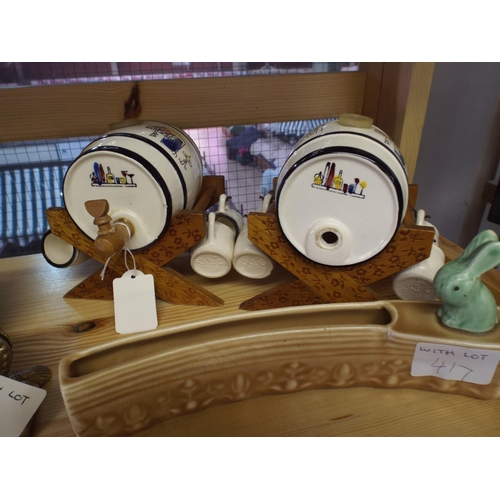 417 - Two ceramic small brandy casks on wooden bases along with Sylvac posy planter...