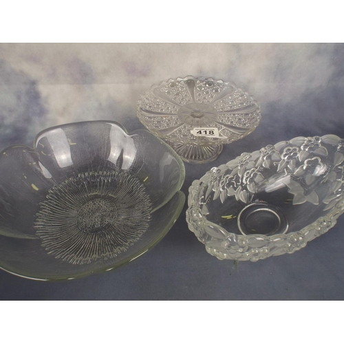 418 - Three pressed glass ornate bowls...