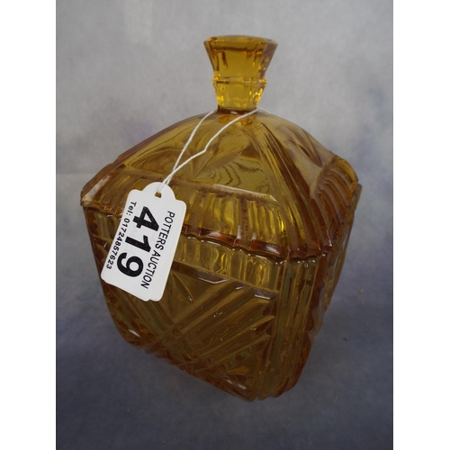 419 - Amberglass lidded tea jar, vintage...