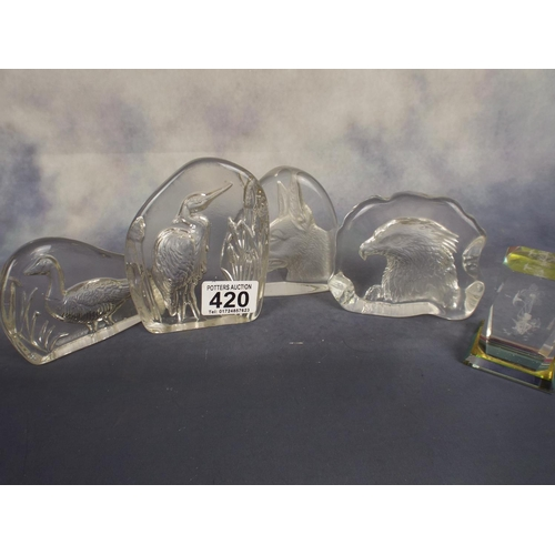 420 - Five glass paperweights with embossed animals...