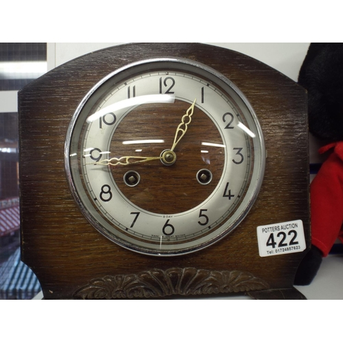 422 - Oak cased mantle clock - spares or repairs...