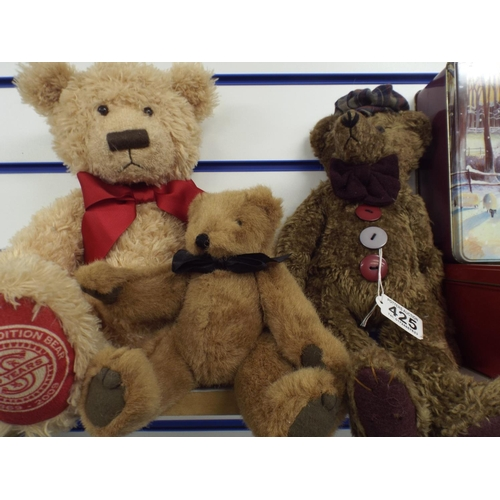425 - Three collectable teddy bears...