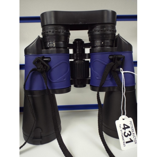 431 - Pair of rubber coated 10x50 binoculars with soft case...