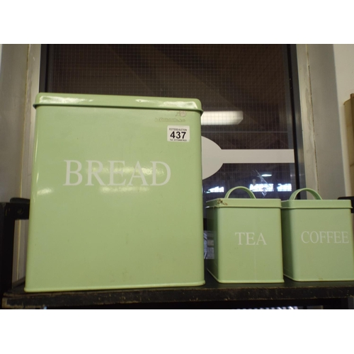 437 - Large metal & enamel bread bin & tea & coffee bin...