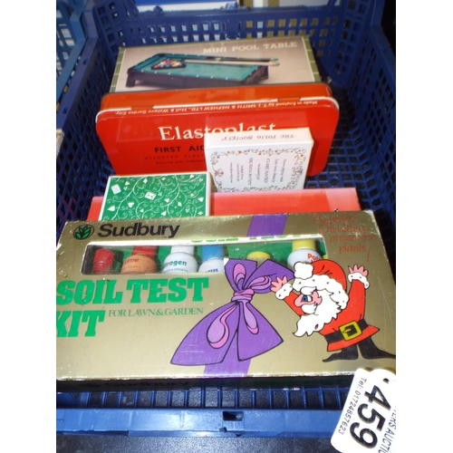 459 - Assorted mixed lot including  soil testing kit & mini pool table...