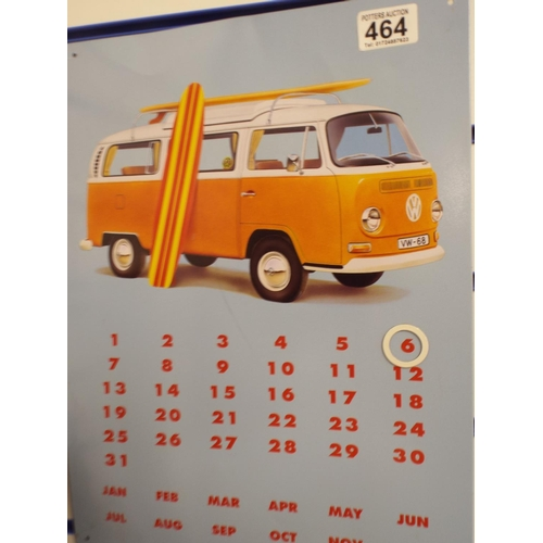 464 - Metal magnetic calendar with Volkswagen campervan...