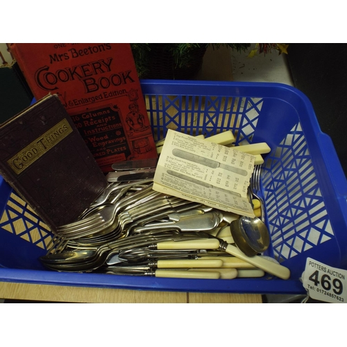 469 - Large tray of vintage cutlery plus mrs beetons cookery books...