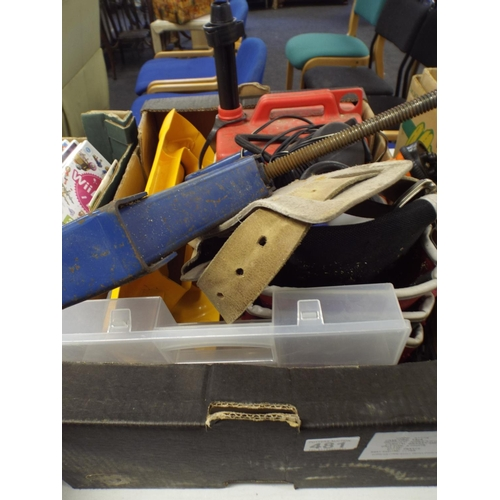 481 - Tray of asst tools , car jacks, petrol cans etc...