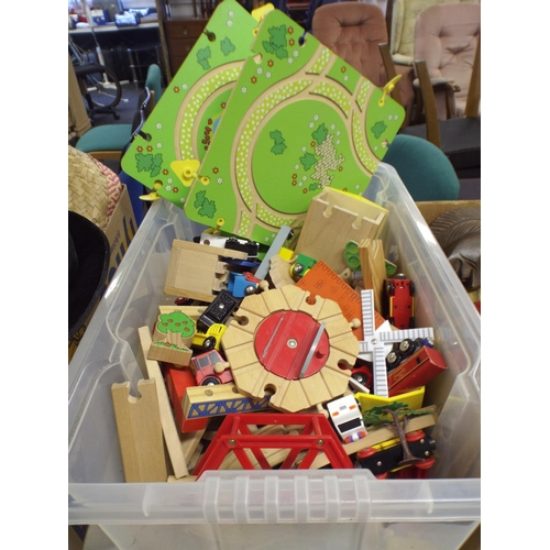 484 - large tray of wooden playworn toys...