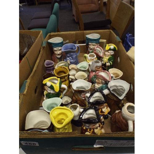 486 - large box of assorted ceramic toby jugs...