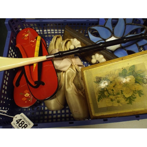 488 - Tray of assorted inc Ballet shoes and vintage map...