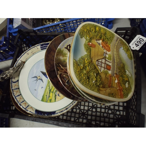 490 - Tray of interesting plates & plaques...