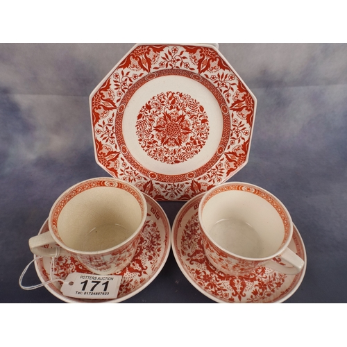 171 - Pair of Victorian Minton cups & sipping saucers plus matching plate...
