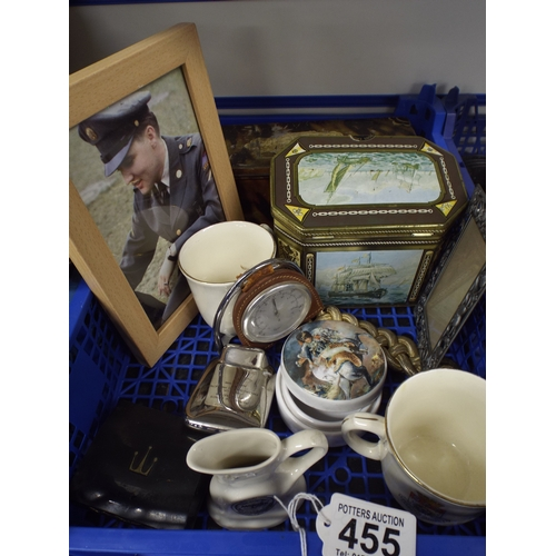 455 - Tray of assorted including interesting tins & Elvis picture...
