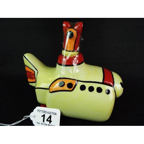 14 - Lorna Bailey, Yellow submarine collectable teapot....