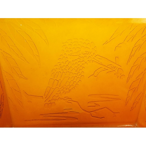 30 - Davidson type Amberglass hexagonal bowl with embossed kingfishers plus one other....