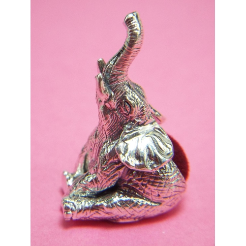 42 - 925 silver pin cushion as a sitting elephant....