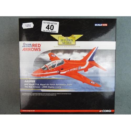 40 - Corgi 1:72 scale die cast RAF red arrows Hawk trainer. Boxed and unused....