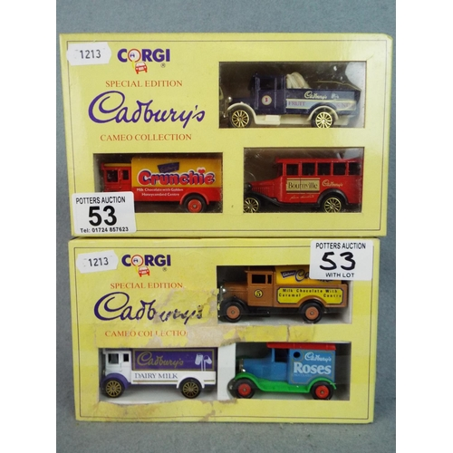 53 - Two Special edition cadbury's Choclolate boxed set vehicles. Boxed and unused...