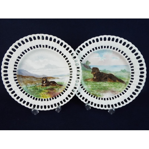 29 - Pair of hand painted pierced edge plates. Handpainted and signed by Eva Langham 1876...