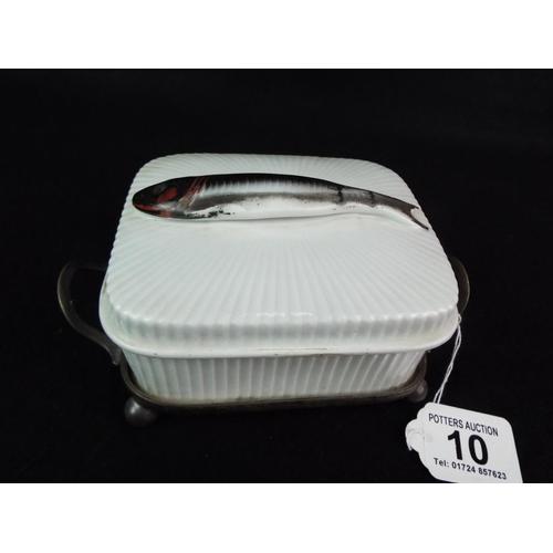 10 - Victorian ceramic sardine dish with original epns base by JT & co. Excellent...