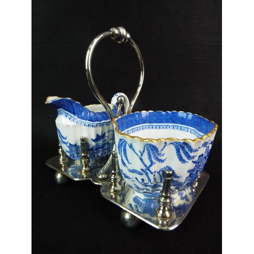 11 - Pretty Victorian Spode milk & sugar caddy with original epns base. Excellent....