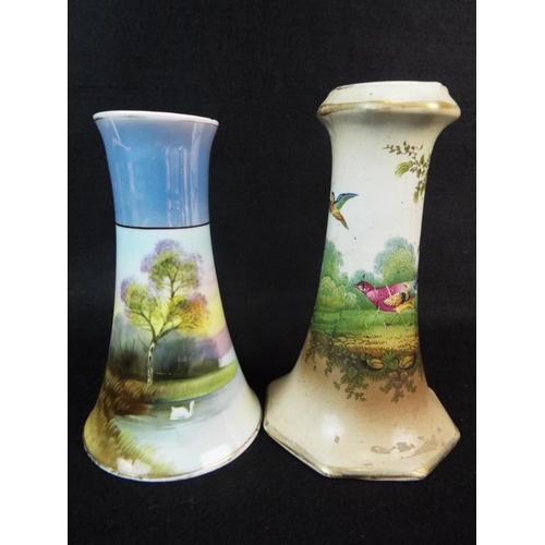 15 - Noritake hat pin vase plus edwardian era blush hatpin vase.  5 inches tall....