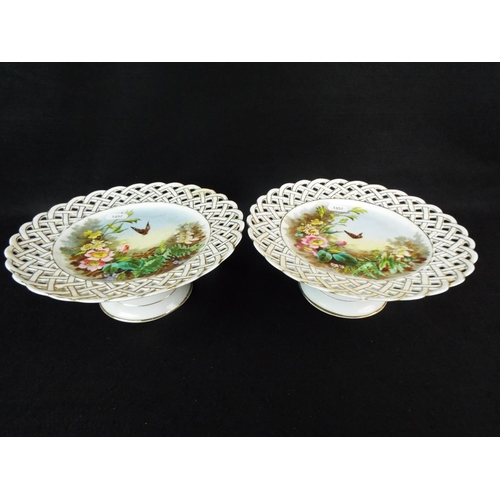 17 - Pair of continental hand painted comports showing butterflies & wild flowers.  9 inches diameter 3.5...