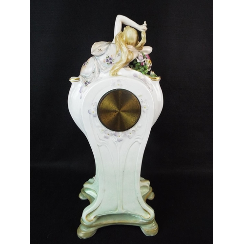 18 - Ernst Wahliss , Vienna Art Nouveau clock base C 1900.  Converted to quartz movement but comes with o...