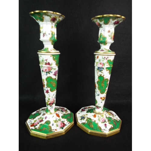 2 - Pair of Excellent quality porcelain candlesticks, hand painted flowers and enamelled sections. TOC e...