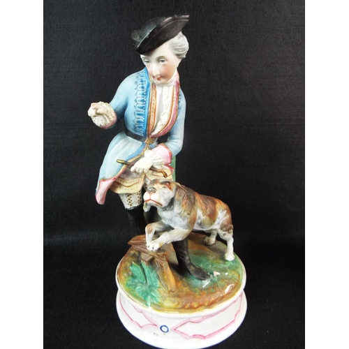 20 - Pair of continental bisque porcelain figures of a shepherdess & Hunter with dog. 9 inches tall....