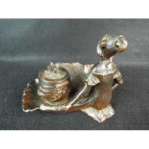 27 - Bronze inkwell as a nymph in a shell. Unsigned. 6.5 inches wide. 4 inches tall. Superb....