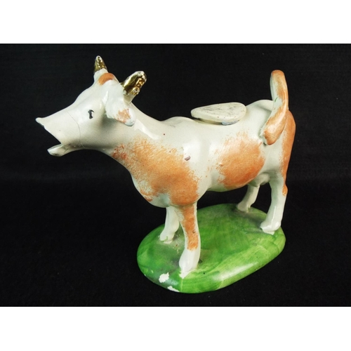 28 - 19th Cent staffordshire cow creamer. Fault to mouth....