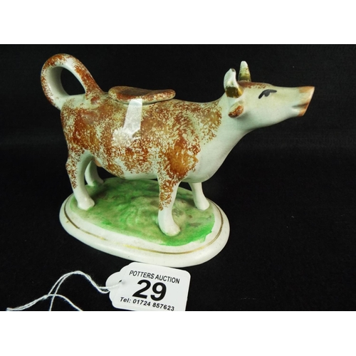 29 - 19th Cent Staffordshire cow creamer....