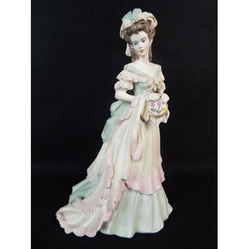 34 - Coalport bisque porcelain,  age of elegance figurine. 'Tapestry'  8.5 inches tall....