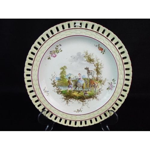 4 - Victorian hand painted plate of pastoral scene. 8 inches in diameter...