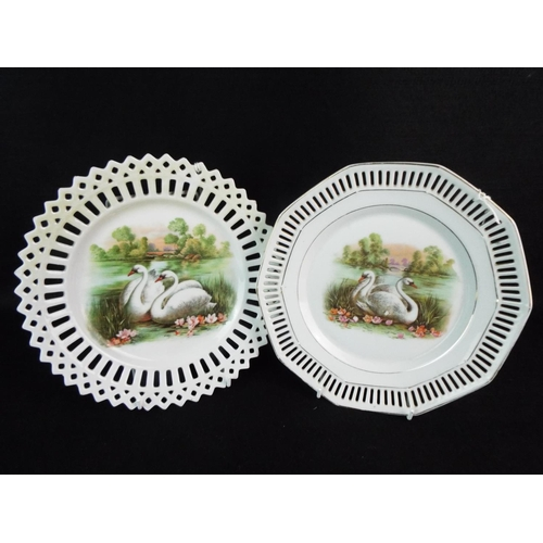 40 - Two TOC era lace edged plates with swan print  decoration....
