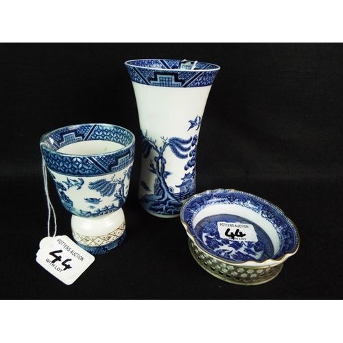 44 - Royal Doulton Booths old willow vase plus other willow pattern....