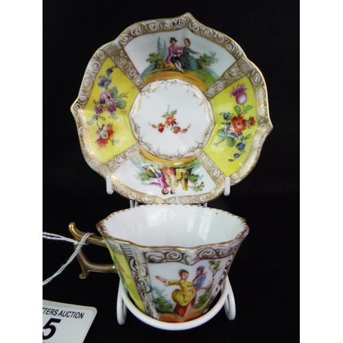 5 - Victorian Continental display cup and saucer. PM & M mark. Some restoration...