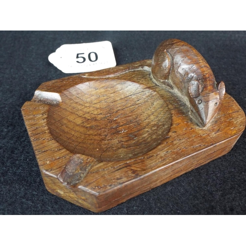 50 - Robert 'Mousey' Thompson carved oak ashtray. 1950's era. Excellent....